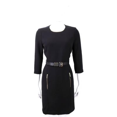 Michael Kors 黑色金屬項圈飾七分袖洋裝(附腰帶)
