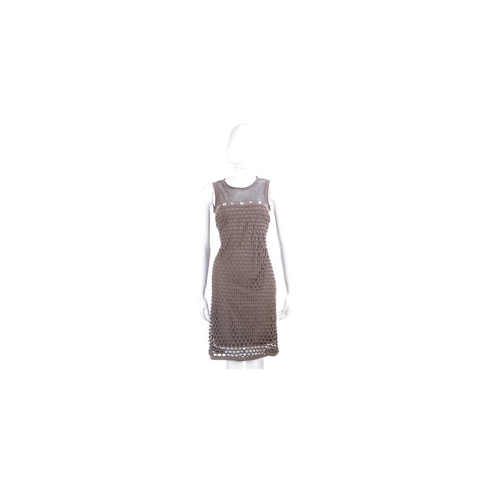 PAOLA FRANI 灰褐色洞洞鑽飾拼接無袖洋裝