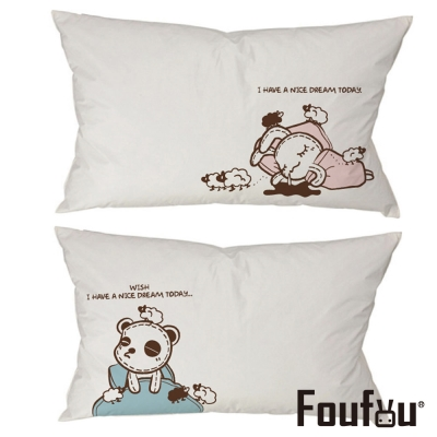 Foufou 抱枕套-熊貓眼&好夢甜 白色(雙人枕套)