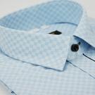 金‧安德森 藍色細格布變化門襟窄版短袖襯衫