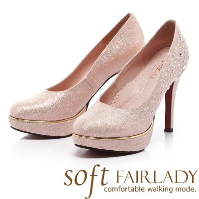 Fair Lady Soft芯太軟 璀璨水鑽宴會高跟鞋 粉