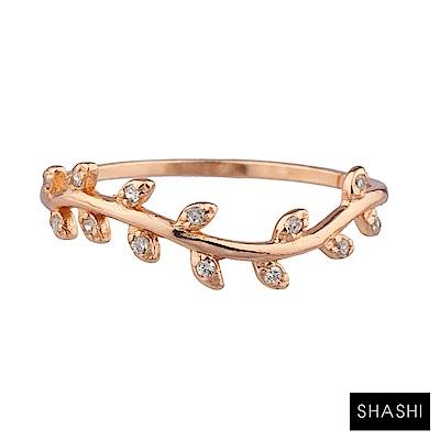 SHASHI 紐約品牌 Amelia 鑲鑽葉子圓形戒指 925純銀鑲18K玫瑰金