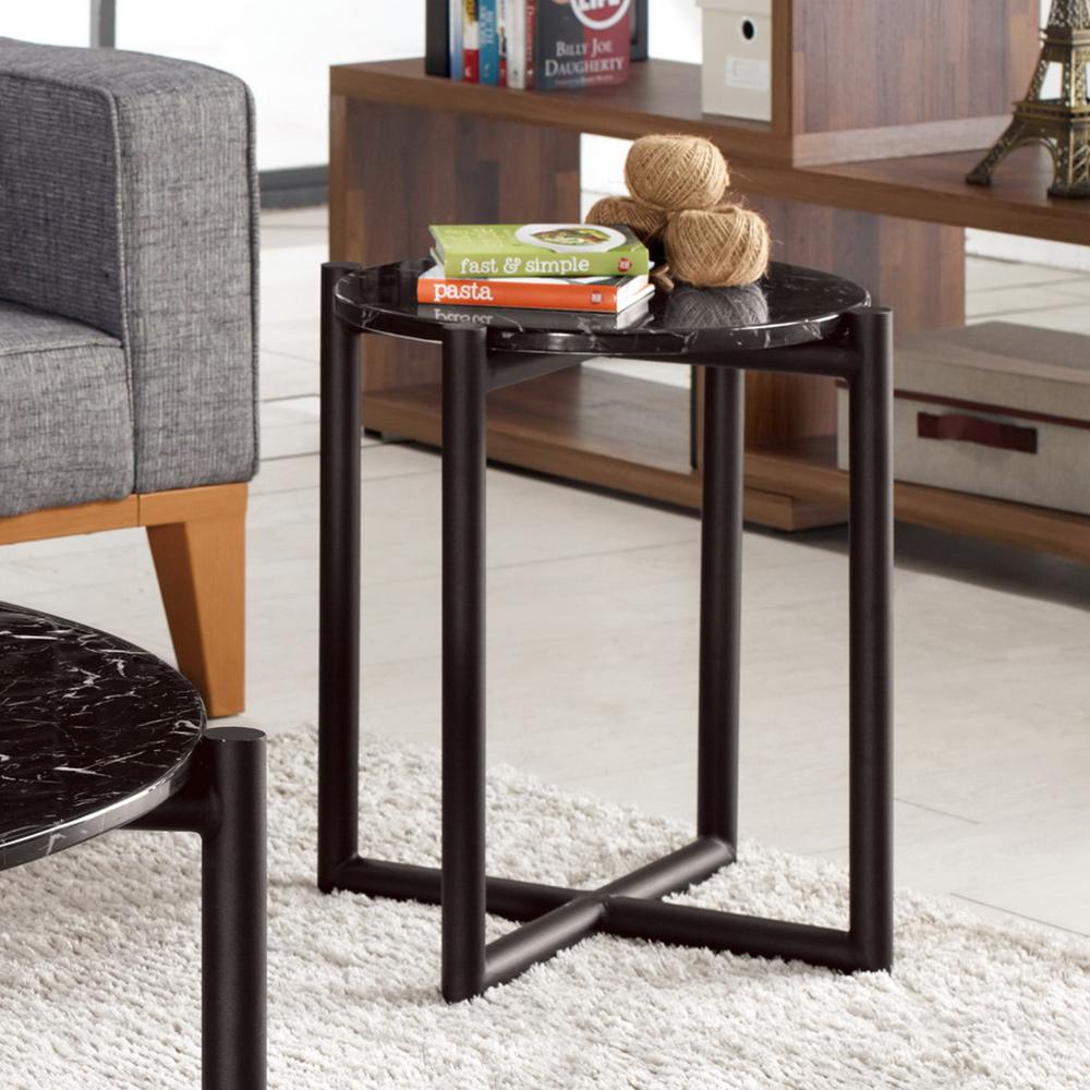 Boden-羅薇1.3尺時尚黑色石面小茶几/邊几-40x40x51cm