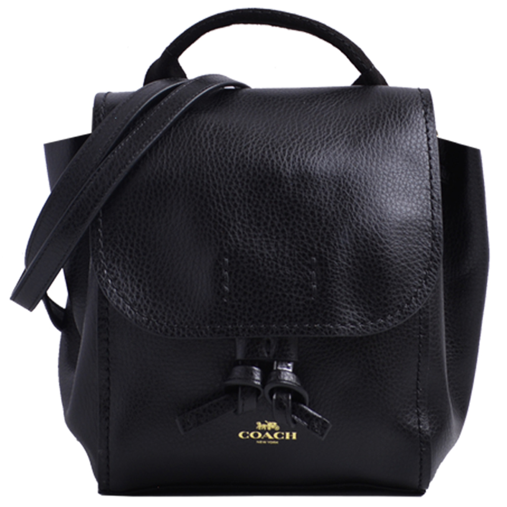 COACH 燙金logo全皮革翻蓋束口斜背/後背兩用包-黑色