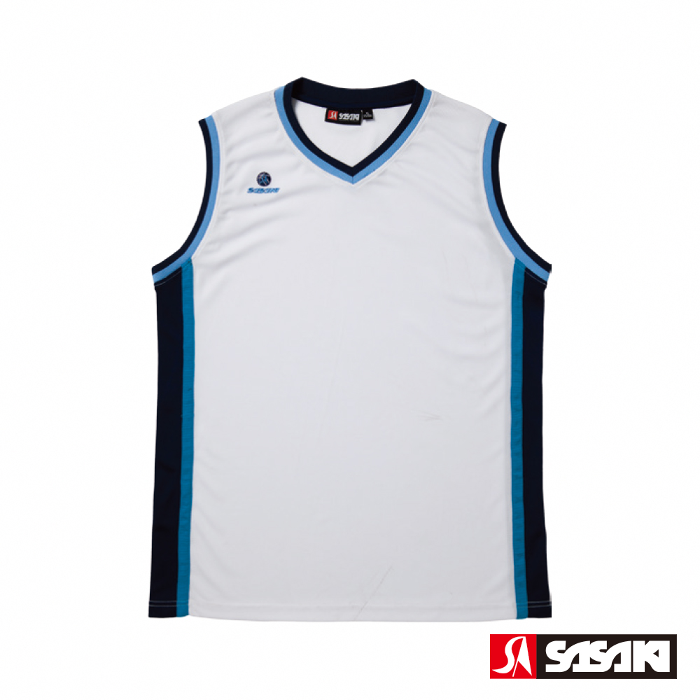SASAKI 雙面穿長效性吸排V領籃球背心-男-白/丈青(寬肩版)