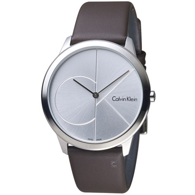 Calvin Klein minimal大ck簡約時尚腕錶-白x咖啡40mm