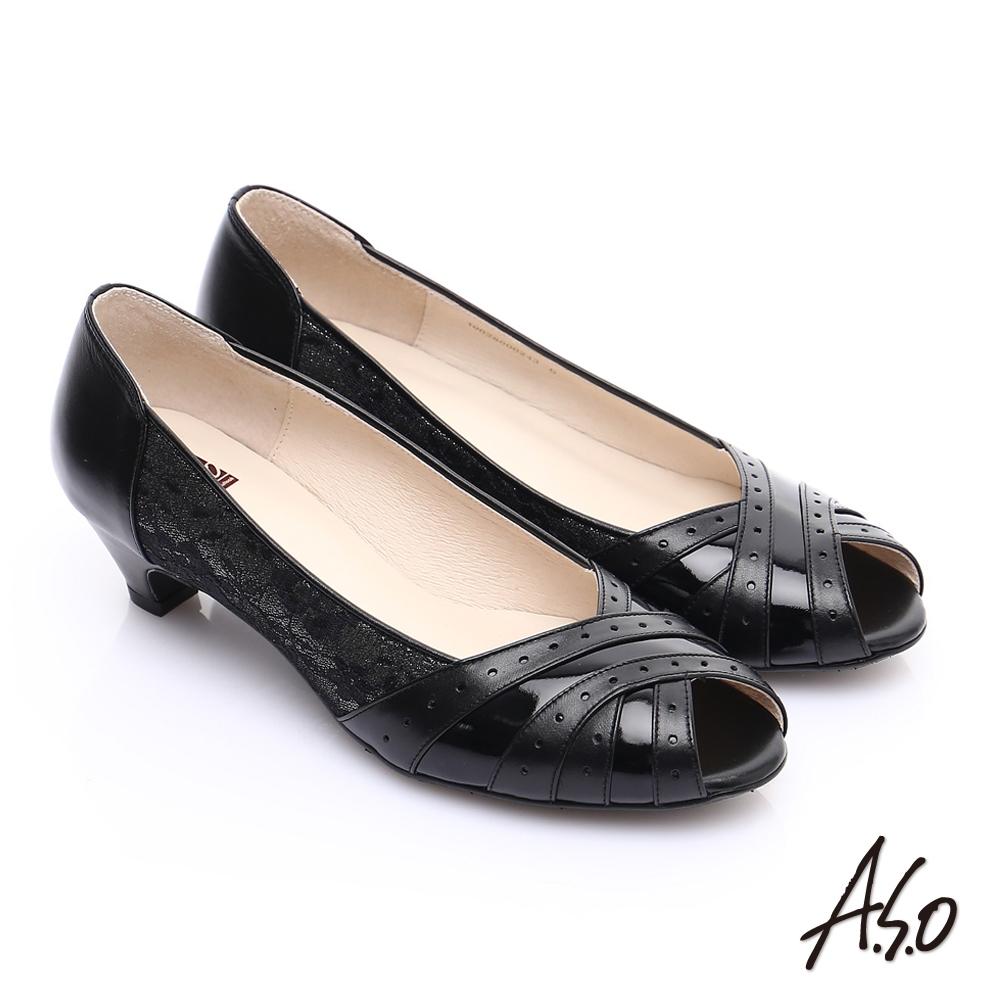 A.S.O. 優雅時尚 全真皮金箔側邊蕾絲中跟魚口鞋 黑