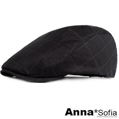 AnnaSofia 細點長格線 鴨舌帽小偷帽(酷黑系)