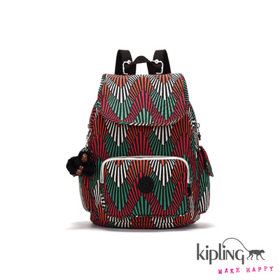 Kipling-後背包-熱帶棕梠紅印花