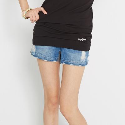 TOP-GIRL-刷破設計拼接牛仔短褲-藍
