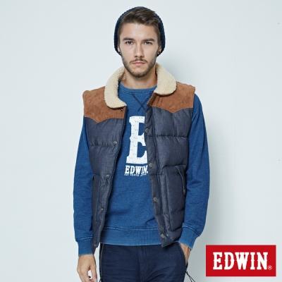 EDWIN 小圓領羽絨背心-男-原藍色