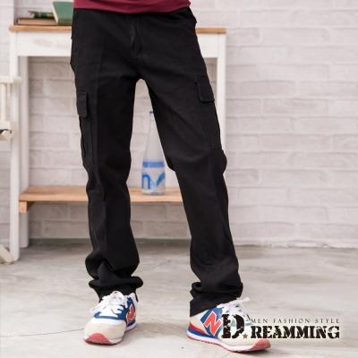 Dreamming 多口袋斜紋布伸縮休閒長褲-黑色