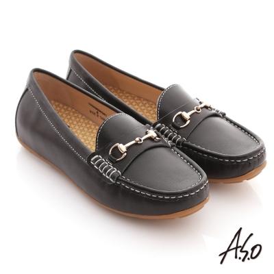A.S.O 舒壓耐走 全真牛皮金屬釦環莫卡辛平底鞋 黑軟皮