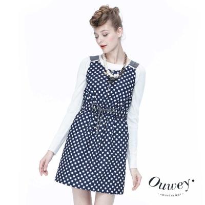 Ouwey歐薇 鄉村格紋吊帶背心洋裝(藍)