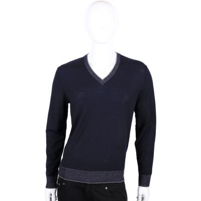 Michael Kors 深藍色美麗諾羊毛V領長袖上衣