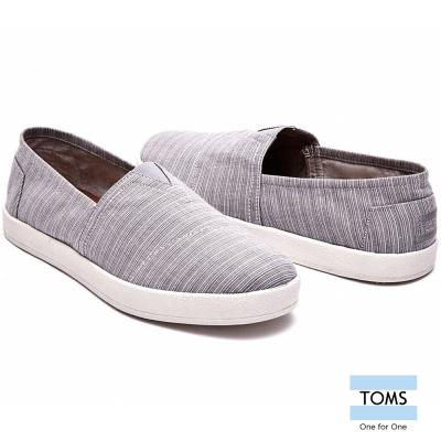 TOMS 線條織紋帆布懶人鞋-男款(灰)