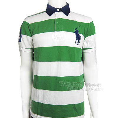 Ralph Lauren 3號臂章橫條紋POLO男衫(白綠)