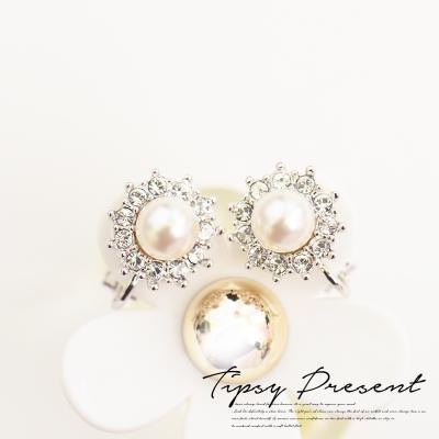 微醺禮物-耳環-耳夾-珍珠-周邊鑲水鑽-經典-名媛