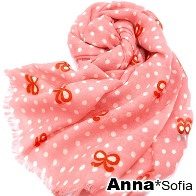 AnnaSofia 點點線蝶結 薄款純羊毛圍巾(嫣粉系)