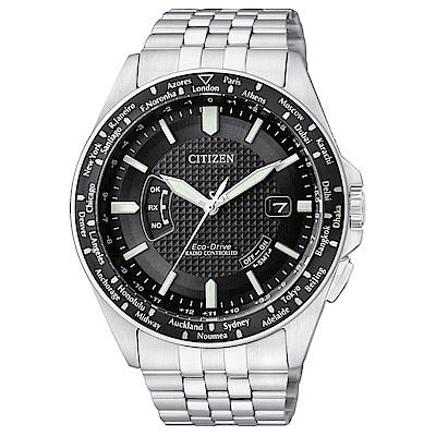 CITIZEN星辰 環遊世界 光動能萬年曆電波腕錶(CB0027-51E)-黑/43mm