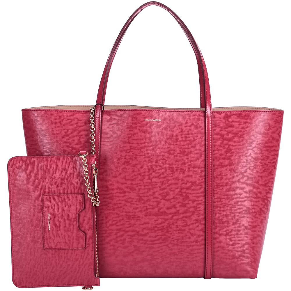 DOLCE & GABBANA ESCAPE 壓紋牛皮購物包(大/紅色)