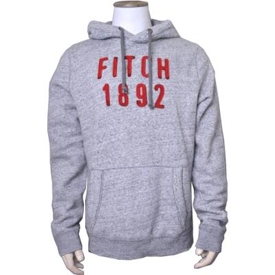 A&F Abercrombie & Fitch Logo貼布刷毛長袖帽T-灰