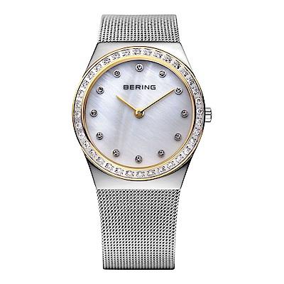 BERING丹麥精品手錶 閃耀晶鑽米蘭帶系列 銀x金30mm