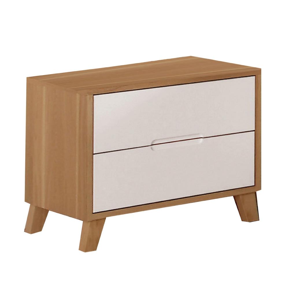 品家居 喬伊亞1.7尺木紋雙色二抽床頭櫃-52.3x40.3x47.3cm-免組