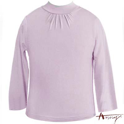 Anny超親膚圓領抓皺造型天絲棉長袖上衣*2435紫