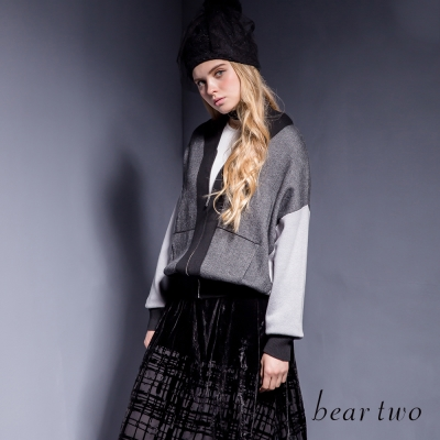 beartwo-V領拼接連袖造型針織外套-灰色