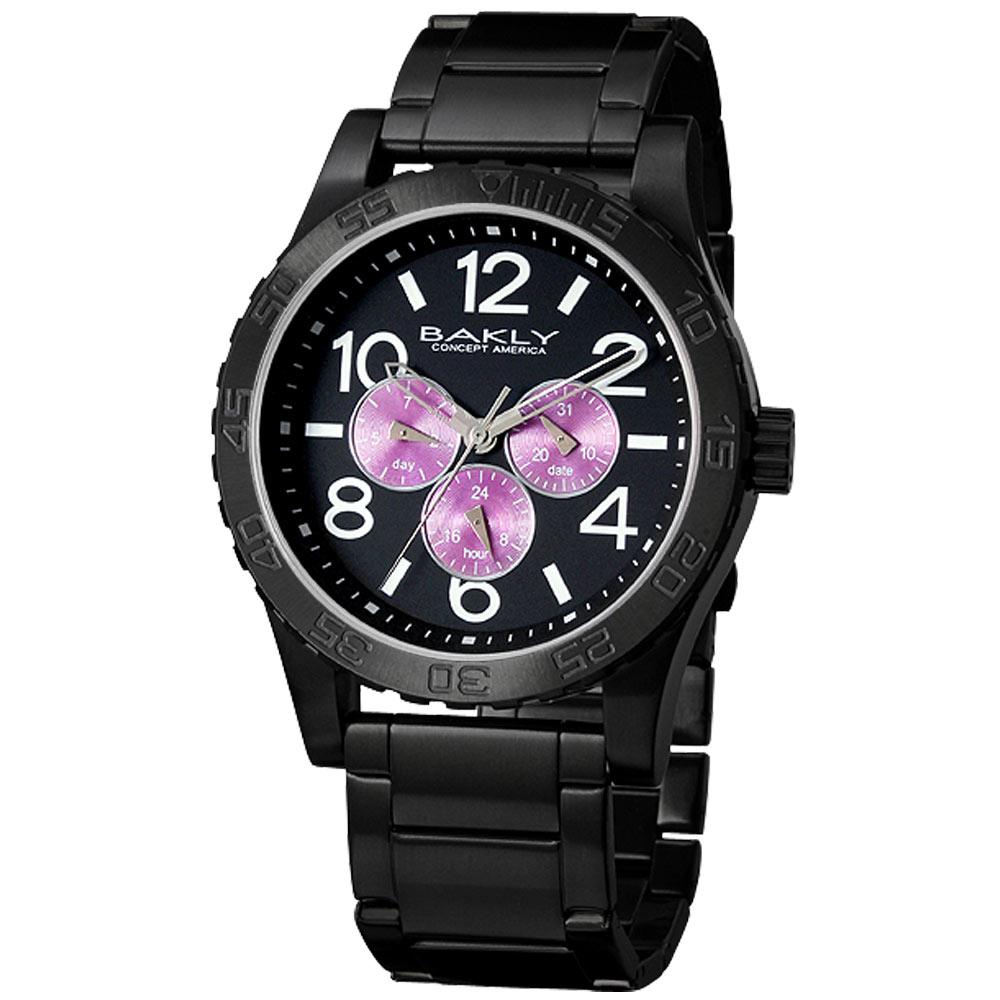 BAKLY 撼動系列德意防衛軍全日曆腕錶-IP黑x紫圈/44mm