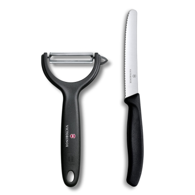 VICTORINOX瑞士維氏 蔬果刀+Y型削皮刀-黑