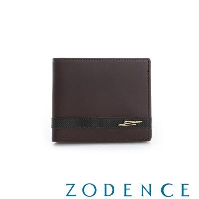 ZODENCE MAN 義大利牛皮系列條紋配色設計短夾 咖