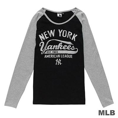 MLB-紐約洋基隊草寫印花長袖T恤-黑 (女)