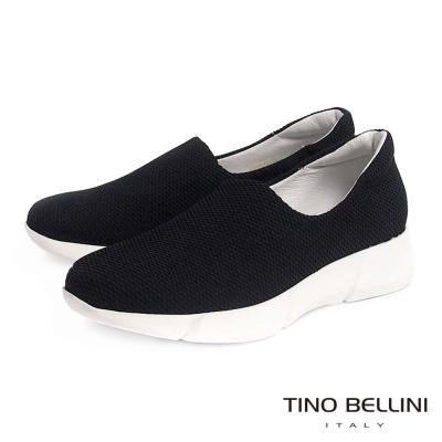 Tino Bellini 時尚休閒風網眼厚底休閒鞋_黑