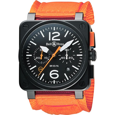 Bell & Ross Aviation 限量版軍事飛行計時機械錶-黑x橘/42mm