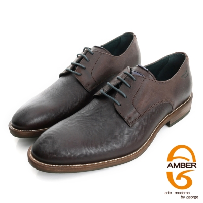 Amber-帥性都會 時尚壓紋紳士鞋皮鞋(男)-咖色