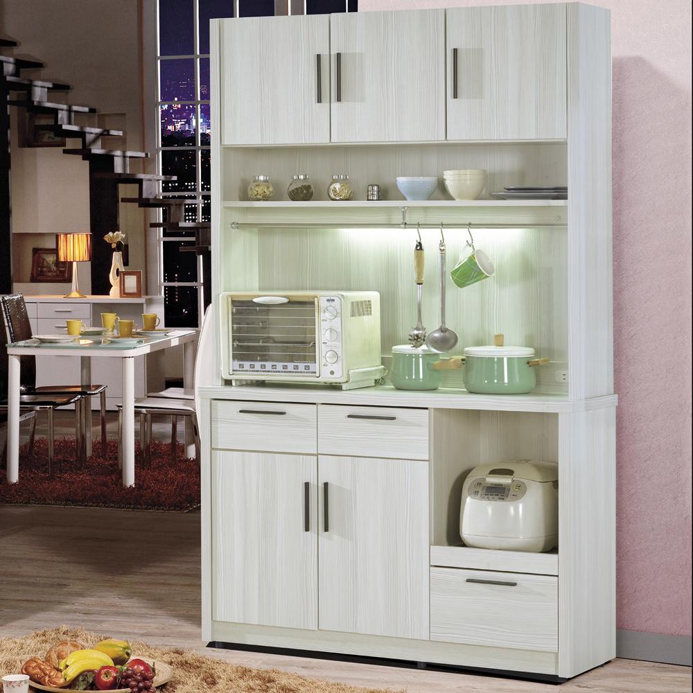 凱曼 米可4尺雪山白餐櫃收納櫃(上座+下座)