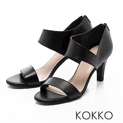 KOKKO-最夯話題簡約線條真皮高跟涼鞋-經典黑