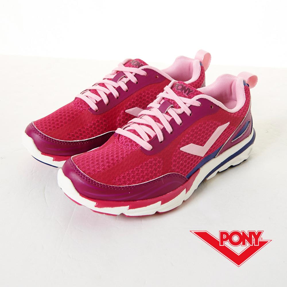PONY-V-RACE-B-高彈動能流線慢跑鞋-桃紅(女)