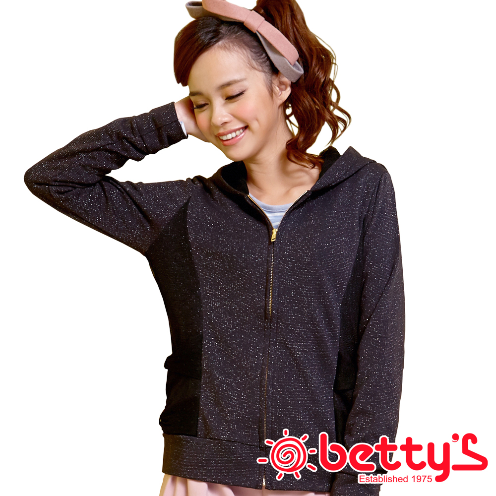 betty's貝蒂思 迷人光采 銀蔥紗質口袋連帽外套(星耀黑)