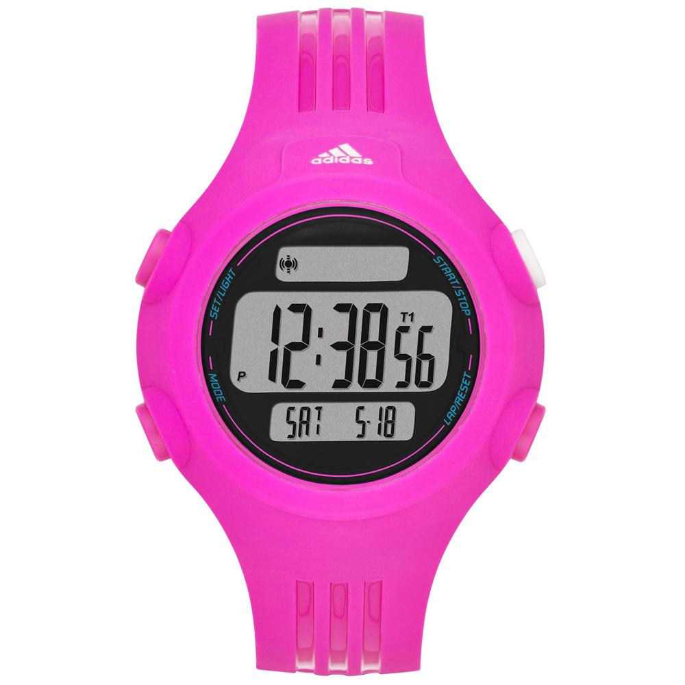 adidas勁戰狙擊大面板電子腕錶-桃紅40mm