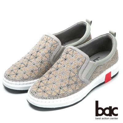 bac時尚休閒 水鑽排列厚底休閒鞋-灰色