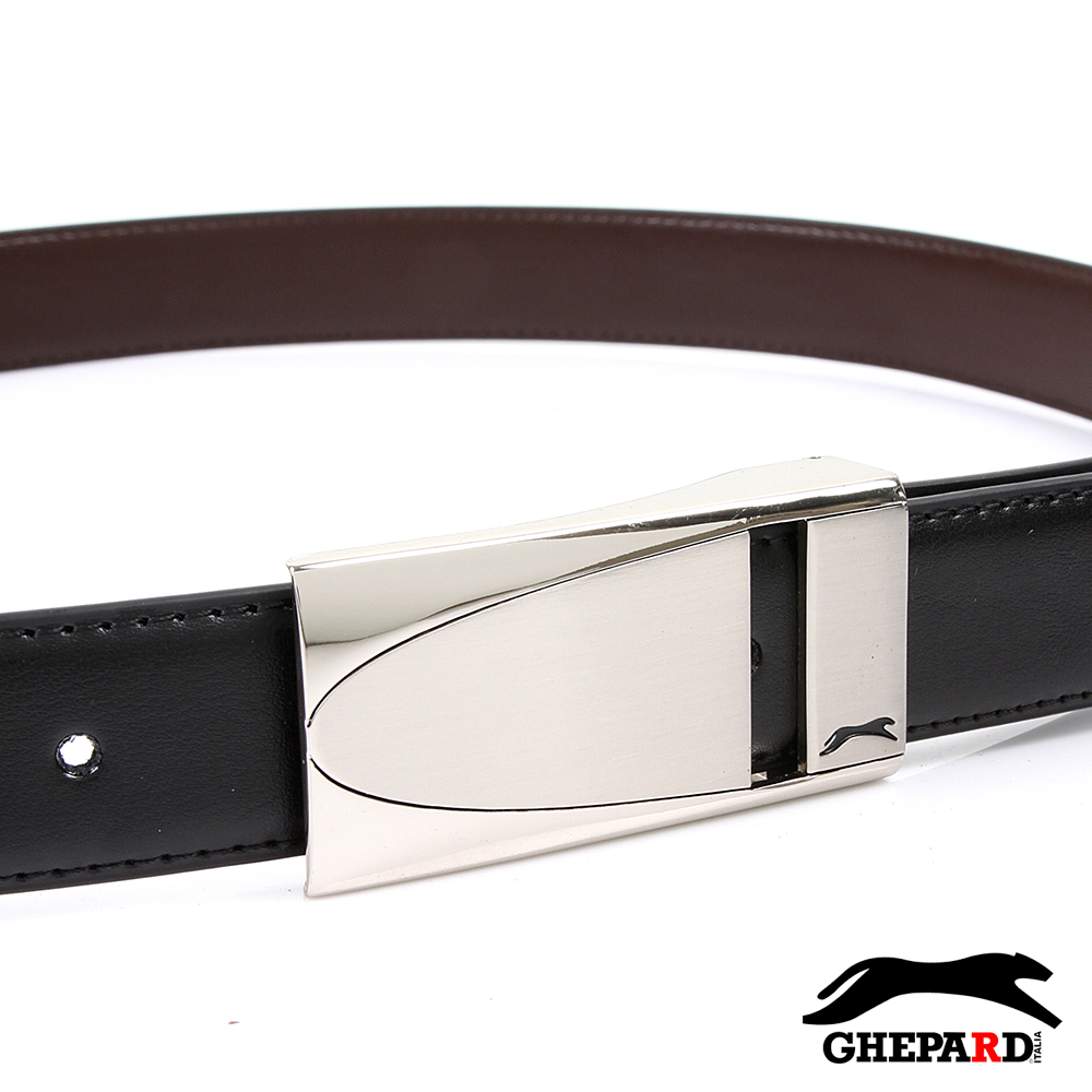 GHEPARD捷豹-長方橢圓中切紋頭配二層牛皮點扣皮帶-G430