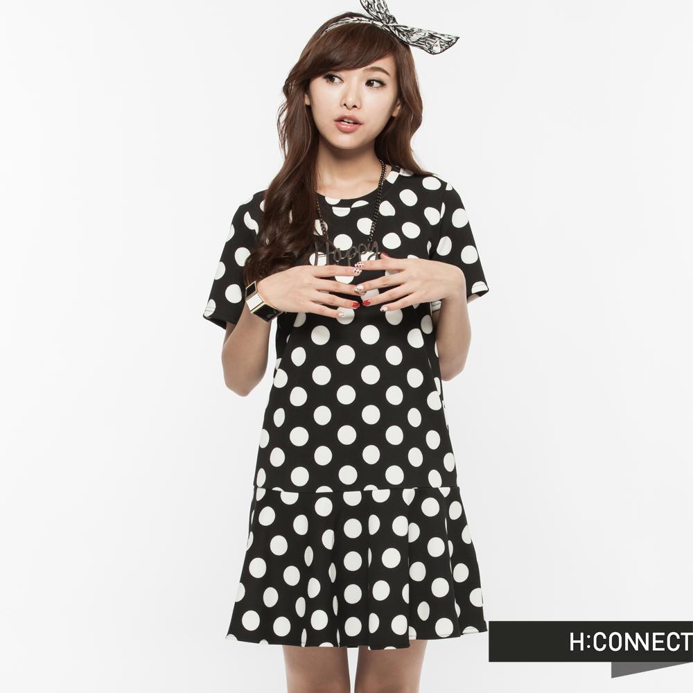H:CONNECT 韓國品牌 女裝 - 復古點點連身洋裝-黑