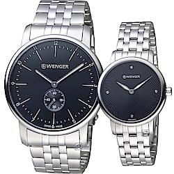 瑞士 WENGER 永恆心語時尚對錶(01.1741.105+01.1721.105)黑
