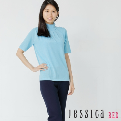 JESSICA - 清新自在側邊釦飾打褶造型上衣