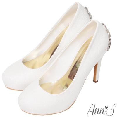 Ann'S公主的珠寶盒-水鑽皇冠防水台厚底高跟婚鞋-白