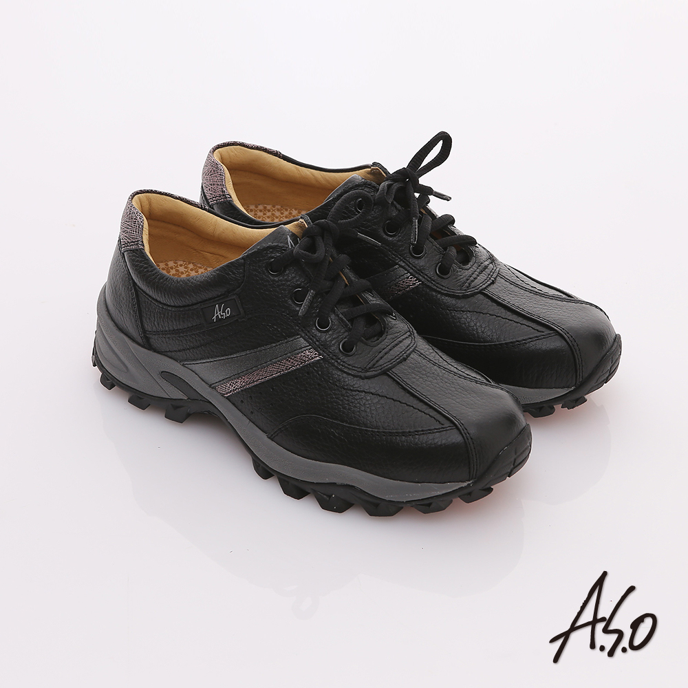 A.S.O 前彈性後避震 牛軟皮綁帶奈米休閒鞋 黑
