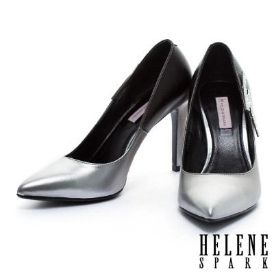 高跟鞋-HELENE-SPARK-閃電鑽飾尖頭美型高跟鞋-銀